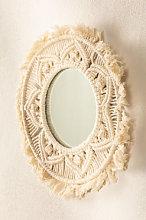 Espejo de Pared Redondo en Macramé (Ø35 cm)