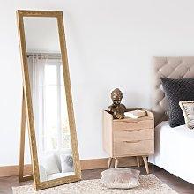 Espejo de pie de paulonia dorado mate 50x170