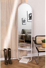 Espejo de Pie Ovalado con Balda en Metal (182x46