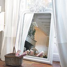 Espejo de pie tallado de madera de paulonia blanco