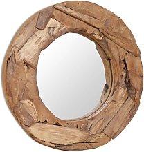 Espejo decorativo de teca 60 cm redondo - Marrón