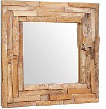 Espejo decorativo de teca 60x60 cm cuadrado