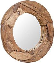Espejo decorativo de teca 80 cm redondo - Marrón