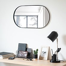 Espejo ovalado de metal negro 35 x 65