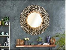 Espejo redondo con forma de sol CALAMUS de ratán