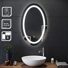 Espejo Redondo de Baño con Luz LED 80x60cm,