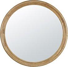 Espejo redondo de hevea con molduras D.90