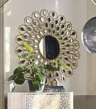 Espejo redondo de metal dorado D.131