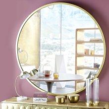 Espejo redondo de metal dorado D. 159 cm