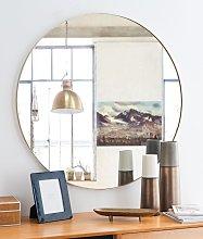 Espejo redondo de metal dorado D.90