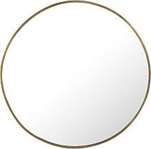 Espejo redondo de metal martillado color latón