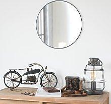 Espejo redondo de metal negro D.45