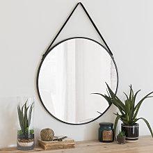 Espejo redondo de metal negro D.55