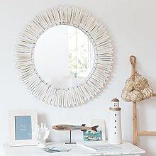 Espejo redondo de paulonia blanqueada D.76