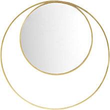 Espejo redondo doble con marco de metal dorado D.90