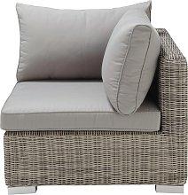 Esquina de sofá de jardín de resina trenzada gris