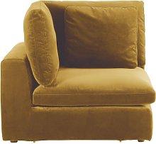 Esquina de sofá modular de terciopelo amarillo