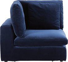 Esquina para sofá modular de terciopelo azul noche