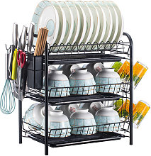 Estante para secar platos Estante de cocina de 2/3 niveles Estante para platos Estante de almacenamiento Escurridor de platos Juego de escurridor de platos Organizador de despensa con escurridor Soporte para palillos Soporte para cortador Soporte para col