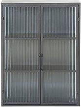 Estantería de metal negro con 2 puertas de vidrio