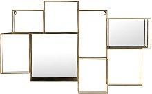 Estantería de pared con espejo de metal dorado