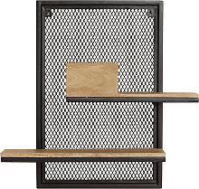 Estantería de pared doble en metal y mango macizo