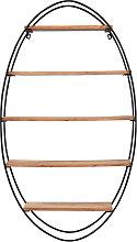 Estantería de pared oval en acacia y metal A130
