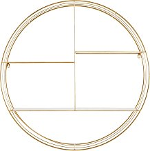 Estantería de pared redonda de metal dorado