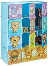 Estantería Infantil Modular con Animales, Azul,