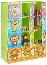 Estantería Infantil Modular con Animales, Verde,