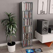 Estantería para CD de aglomerado gris brillante