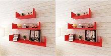 Estantes de pared 6 unidades rojo - Hommoo