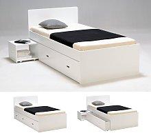 Estructura de cama con cajón y mesa de noche