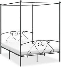 Estructura de cama con dosel metal gris 160x200 cm