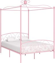 Estructura de cama con dosel metal rosa 140x200 cm