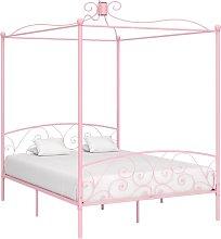 Estructura de cama con dosel metal rosa 160x200 cm