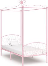 Estructura de Cama con Dosel Metal Rosa 90x200 cm