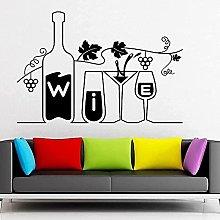 Etiqueta de la pared Copa de vino y botella