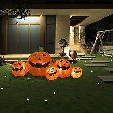 Familia de calabaza inflable de Halloween con LED