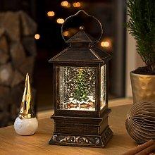 Farola LED con nieve «Mercado de Navidad» con