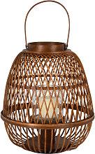 Farolillo de bambú trenzado y cristal