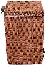 FHKBK Cubo de basura de mimbre de bambú cuadrado