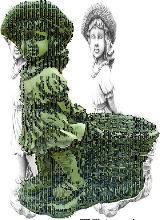 Figura decorativa niña Cesta en hormigón-piedra