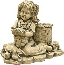 Figura decorativa Niña Flores en hormigón-piedra