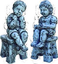 Figura Decorativa Niños Sentados en Piedra para