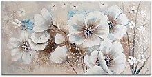 Flores Blancos Pintura floral moderno realizada a