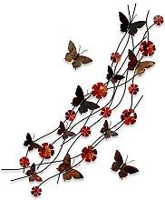 Flores y mariposas Cuadro en metal escultura para