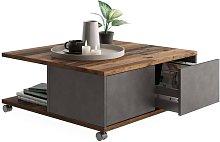 FMD Mesa de centro portátil madera envejecida -