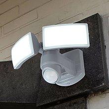 Foco de pared exterior LED Arc con sensor, blanco