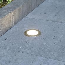Foco de suelo LED empotrado Doris redondo, acero